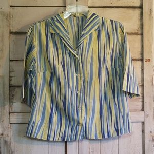 Vintage 60's Yellow Blue 13-14 Button Up Blouse